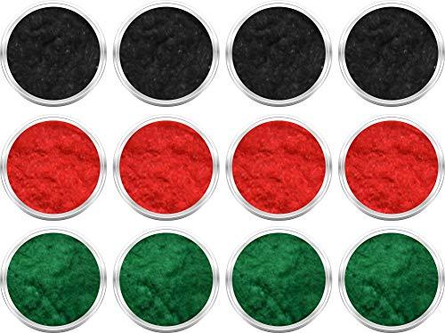 12 Döschen Nailart Samtpuder - je 4 in den Farben schwarz, rot und grün [ 12 x 3ml ]