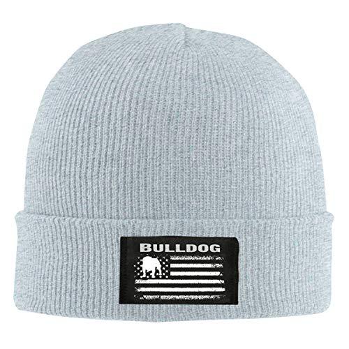 IHJK Jkkk Unisex Bulldog America Flag Skull Hats Knit Cap Winter Warm Cap Beanie Hats Gray