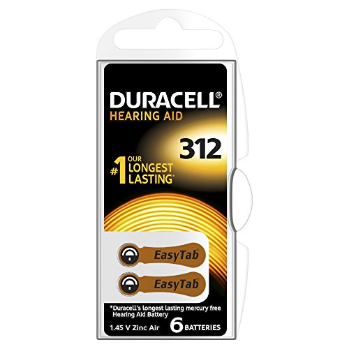 Duracell - Pile Auditive - Easy Tab - 312 Marron - Pack de 6