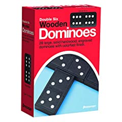 Made of strong solid hardwood Dominos are engraved with colorfast finish A classic games that transcends the generations Perfect for playing at home or in the classroom For 2 to 4 players, Ages 5 and up