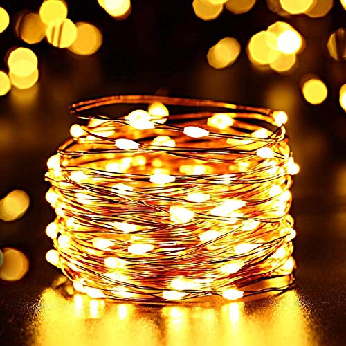120 luces LED de hadas de cadena de luces de luciérnagas con alimentación USB para el hogar, dormitorio, fiesta, boda, Navidad, decoración de tapicería, blanco cálido, 6 unidades
