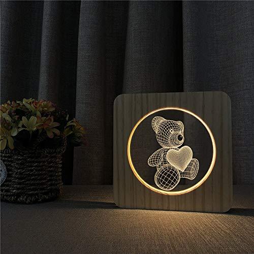 Regalo de la decoración del sitio de los niños de acrílico del oso del amor de la luz cálida de la energía del USB 3D LED