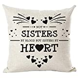 ramirar Black Word Art Quote Not Sisters By Blood But Sisters By Heart Love Gift For Friends Decorative Throw Pillow Cover Case Cushion Home Living Room Bed Sofa Car Cotton Linen Square 18 x 18 Inches
