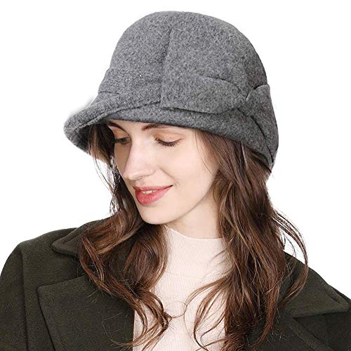 Jeff & Aimy Women Winter Wool Felt Cloche Hat Ladies 1920s Vintage Bowler Bucket Hat Warm Soft Grey