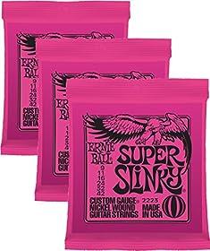 3x Super Slinky 2223 Calibre .009.011.016.024.032W .042. Fabricado en USA, jugado en todo el mundo Pack que contiene 3juegos