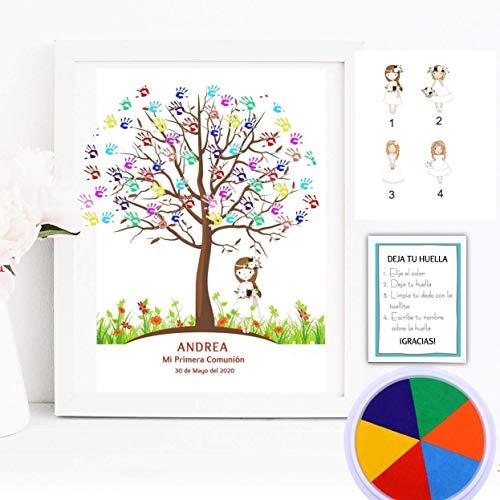 Cuadro de árbol de huellas personalizado para Comunión. 4 modelos de niña a elegir. Tintas e instrucciones incluidas. Varios tamaños y colores de marco. MODELO VINTAGE