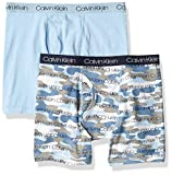 Calvin Klein Little Boy's Kids Modern Cotton Assorted Boxer Briefs Underwear, Multipack, 2 Pack - Blue Bell/Camo Blue, Large (12/14)