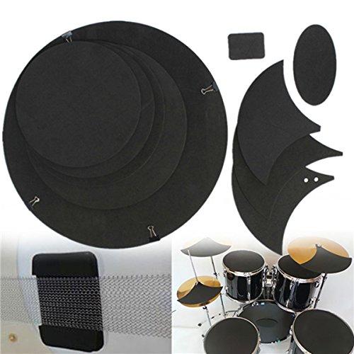 Heelinna Snare-Schlagzeug-Pad-Set, 10-teilig, für Bass/Snaredrum, Schalldämpfer und Schlagzeuge, Gummi