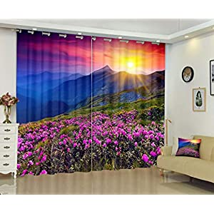 Silk Factory Landscape Blackout Curtains for Bedroom Landscape Magic Pink Rhododendron Flowers Summer Mountain Drapes Farmhouse Decoration Girls Set of 2 Panel Sets Kids Black Our 108 X 84 Inch Long