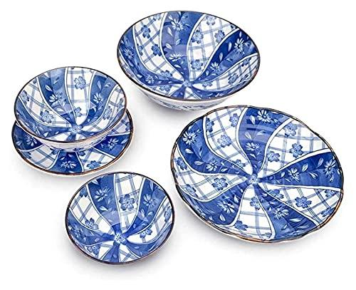 Peces Azules de 8 Piezas, vajilla, vajilla, Placa Occidental, cerámica, Cuenco de arroz, Estamos Seguros para el Uso Diario. Yuechuang