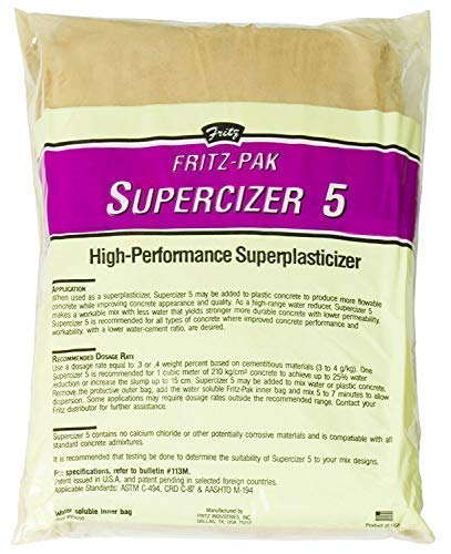 Fritz-Pak Concrete Superplasticizer Additive, 7.2lbs. Cement Water Reducer Improves Workability and Strength. Plasticizer Gives 6 Inch Slump Increase. For DIY Countertops, Slabs, Patios and Floors