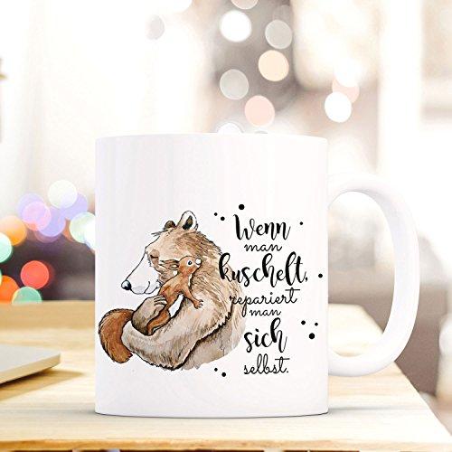 ilka parey wandtattoo-welt® Tasse mit Spruch Becher Kaffeetasse Kaffeebecher Bär & Eichhörnchen mit Spruch wenn Man kuschelt. ts470