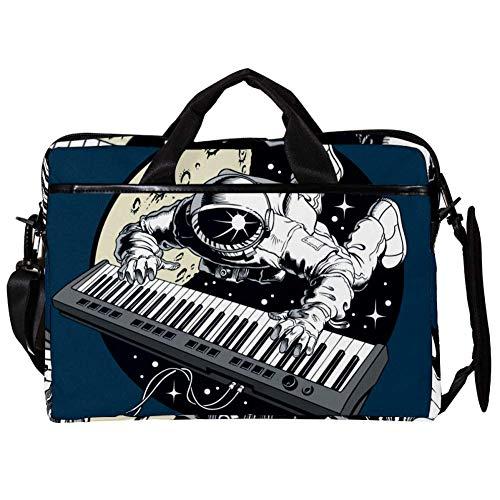 Astronaut, der Klavier Illustration spielt Laptop Tasche Umhängetasche Handtasche Leinwand 15-15.4 Zoll Computer Tasche für Business/Arbeit/Schule/Reisen 38x28cm