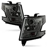 For 2015 2016 2017 2018 2019 2020 Chevy Suburban | Chevy Tahoe LH + RH Smoked Halogen LED Light Tube Projector Headlights Set