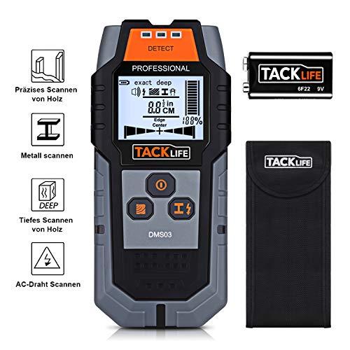 Ortungsgerät Tacklife DMS03 4 in 1 Metalldetektor Wand Scanner Stud Finder Leitungssucher für Holzbolzen/Metall/Live-AC-Kabel, Tiefenerkennung mit Großer LCD Hintergrundbeleuchtung, mit Schutztasche