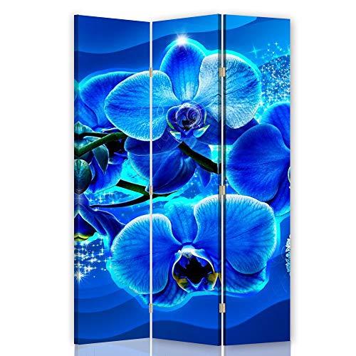 F FEEBY WALL DECOR Foto Biombo Abstracción 3 Paneles Unilateral Flores Zen SPA Azúl 110x175 cm