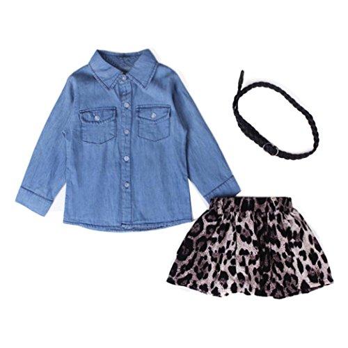kingko® 1Réglez bébé Enfants Filles Blue Jean Shirt + Ceinture + Leopard Jupe Courte Vêtements Tenues (4T)