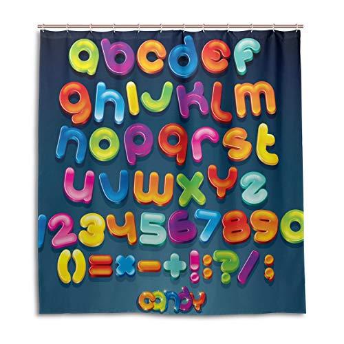BKEOY Duschvorhang, Mehrfarbig, Zahlen Alphabet, Badevorhang, wasserdicht, schimmelfest, waschbar, Polyester, 167 x 182 cm, mit 12 Vorhanghaken