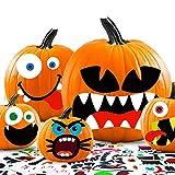 JYUYNY 35 Hojas Pegatinas de decoración de calabaza de Halloween Pegatinas de Expresión de Decoración Halloween Jack-o-Lantern Kit de decoración de truco o trato