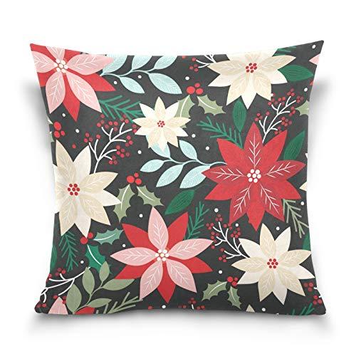 HMZXZ Funda de almohada decorativa de 45,7 x 45,7 cm, diseño de flores de Poinsettia
