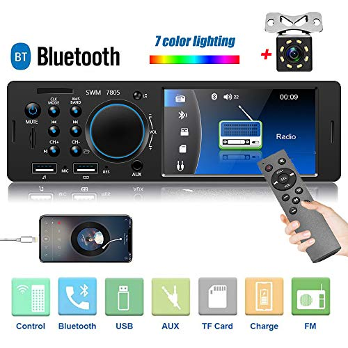 Camecho Single Din Car Stereo Audio 4.1 Inch Digital Screen Radio Car Multimedia MP5 Player Bluetooth FM Receiver with EQ/Dual USB Port/AUX-in/SD Card Slot + Backup Camera & Remote Control