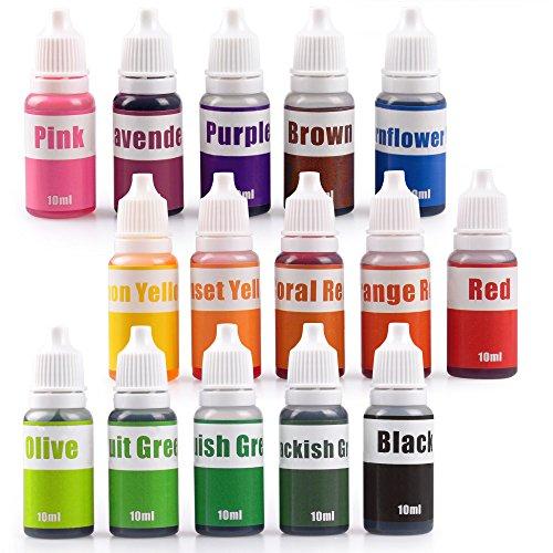 15 Colors Liquid Soap Dye Kit Food Grade Skin Safe (5.3 OZ), 2020 Liquid Bath Bombs Colorant Set Best Soap Making Supplies (Red Black Pink Brown Lavender Lemon Yellow etc.)