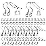 TOAOB 300 Piezas Ganchos para Pendientes y 4 mm para Anillo de Salto Abierto Plata de Ley 925 y Tapones para Los Oídos...