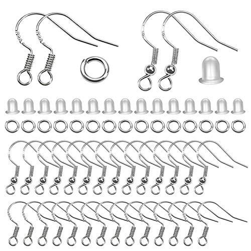 TOAOB 300 Piezas Ganchos para Pendientes y 4 mm para Anillo de Salto Abierto Plata de Ley 925 y Tapones para Los Oídos Transparentes para Fabricación de Joyas
