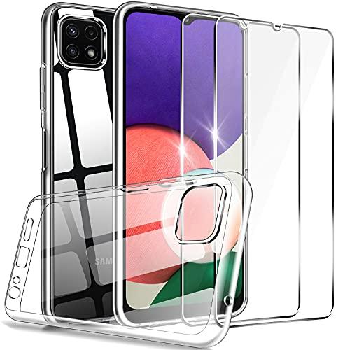 LK Compatible con Samsung Galaxy A22 5G Funda con 2 Pack Protector de Pantalla, HD Transparente Carcasa Ultra Fina Suave TPU Silicona Gel Case Cover - Clara