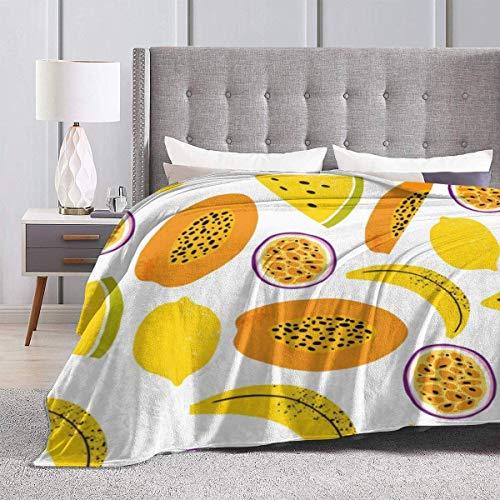 Manta Papaya Maracuyá y Banana Queen Suave y cálida Throw Over Sofa Manta de Cama de Lana para Cama y sofá 50 * 40 Pulgadas
