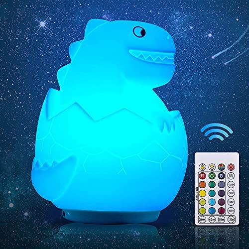 Luz de noche para niños LED Luz de noche de dinosaurio Lámpara de dinosaurio de silicona Enchufe eléctrico con 16 colores Recargable Remoto Ligero para cumpleaños, Navidad y regalo de festivales