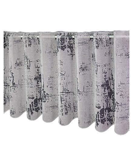 Gustav Gerster Scheibengardine nach Maß Lamellen - Panneau Modernes Design Bistrogardine Batist Optik Höhe 45 cm - Breite der Gardine durch Stückzahl in 16 cm Schritten wählbar weiß-grau