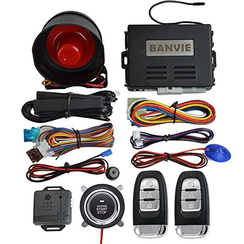 BANVIE PKE Car Alarm System with Remote Start and Push Engine Start Button