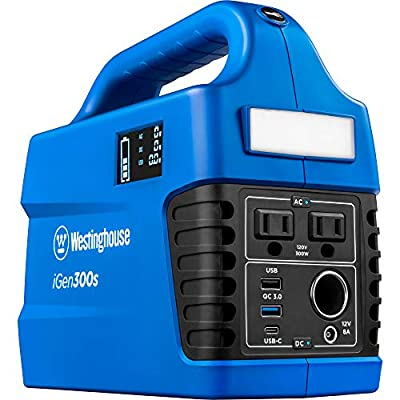 Westinghouse iGen300s Portable Power Station 296Wh Backup Lithium Battery, 120V/300W AC Outlets, Solar Generator (Solar Panel Not Included)