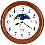 Justime 14 Inch Exclusive Solid Oak Wood Non-Ticking Sweep Mechanical Specialty Moon Phase...
