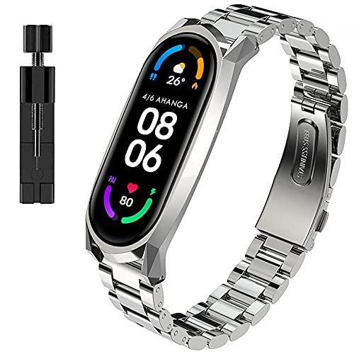 AHANGA Correa para Xiaomi Mi Band 6, Pulseras MiBand 5/6 Pulsera Metal Correas con Enlaces Herramienta de Eliminación Reloj Wristband Recambio Bandas Acero Inoxidable Reemplazo Strap Hombres Mujer