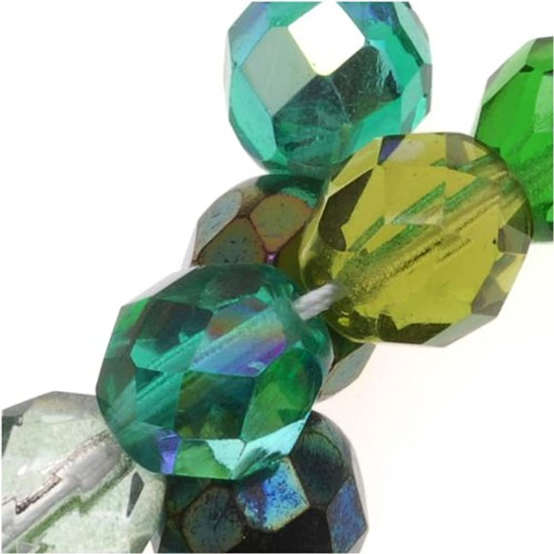 Czech Fire Polish Glass Beads 8mm Round EVER GREEN Mix (50 Beads)