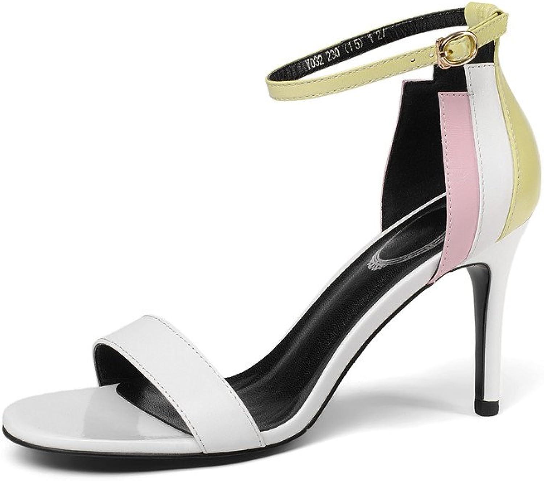 Nine Seven Genuine Leather Women's Round Toe High Heel Handmade Ankle Strap Sandals