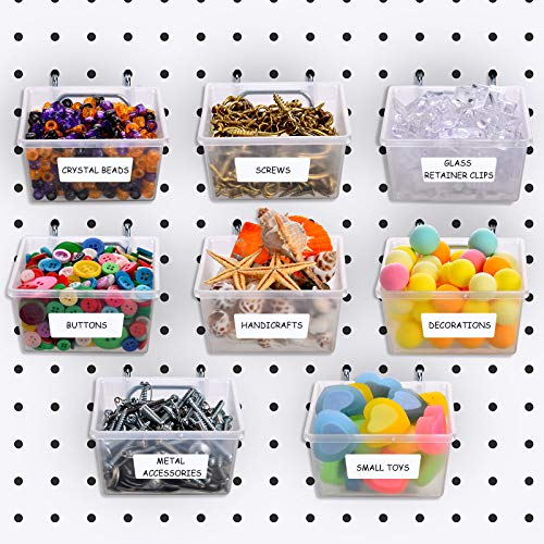 8 Packs Pegboard Bins Kit Pegboard Parts Storage Pegboard Accessories Workbench Bins Fits to Any Peg Board for Organizing Hardware, Attachments, Craft Room, Tool Shed, Hobby Supplies (Translucent)
