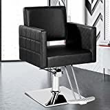 OKAKOPA Salon Style Barber Chair, Spring Loaded Reclining Back Salon Chair White Square Chrome Base Barbering Chair for Hair Stylist Beauty (Black)