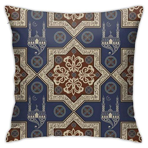 Throw Pillowcases Square Cushion Cover 45X45CM for Sofa Couch Bed Home Decoration, Seamless Texture with an Oriental(2)