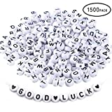 MSOLE 1500 Pcs Alphabet Letter Beads Plastic Acrylic White Round Letter Beads A-Z and Heart for Jewelry Making Bracelets Necklaces Key Chains(4×7mm)