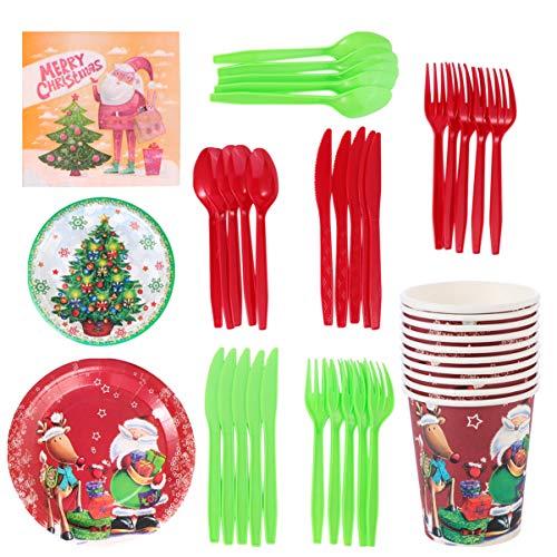 Amosfun - Juego de 80 platos desechables para Navidad