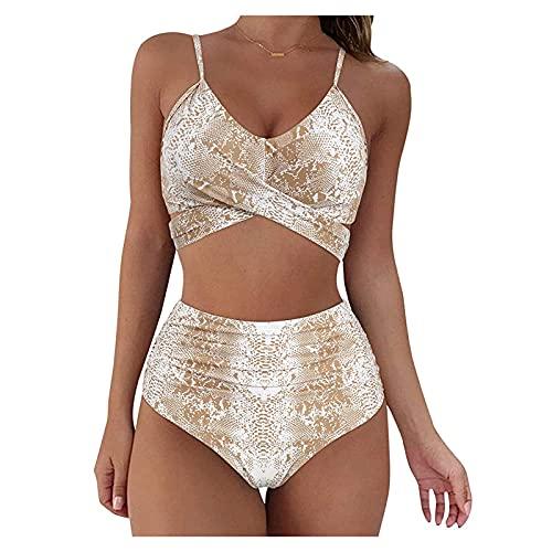 MOKBAY Damen Sexy Bikini Set Hohes Taille Tanga und Tiefer V Ausschnitt Strandbikini Einteiliger Tankini Weicher Stoff und Elastizität,Tankini Weicher Stoff und Elastizität