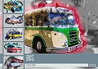 Bus Color (Wandkalender 2022 DIN A4 quer): Farbgewaltige Bilder von Oldtimerbussen (Monatskalender, 14 Seiten )