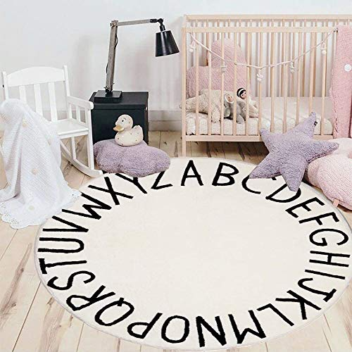 HEBE 4ft Round Kids ABC Rug Alphabet Nursery Rug for Bedroom Playroom Non Slip Educational Playmat Round Circle Carpet for Classroom Infant Toddlers,Milk White