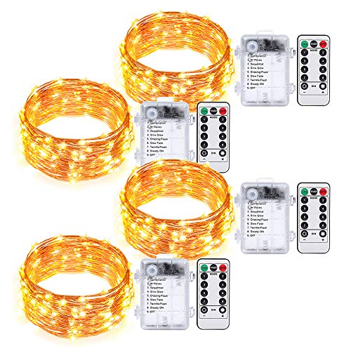 Umi. by Amazon - Guirnalda de luces, 50 LED decorativas de un solo color, 5m, pilas, mando a distancia con temporizador, cable decorativo impermeable para interior y exterior (paquete de 4)