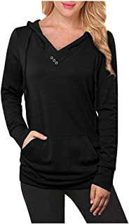 Womens Tops,Women Fashion Button V-Neck Pullover Solid Color Loose Sweater Blouse