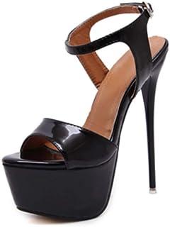 OCHENTA Women's Open Toe Platform Sky High Stiletto Heel Ankle Strap Buckle Party Sandals