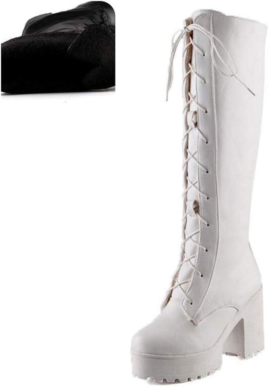 HAOLIEQUAN Plus Größe 33-46 Frauen High Heels Stiefel Overknee Stiefel Stiefel Stiefel Frau Spitz Schuhe Fashion Lace Up Schuhe  bca176
